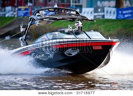 MELBOURNE, AUSTRALIA - MARCH 12: Nautique skiboat during the Moomba Masters waterski event on March 12, 2012 in Melbourne, Australia