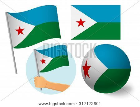 Djibouti Flag Icon Set. National Flag Of Djibouti Vector Illustration