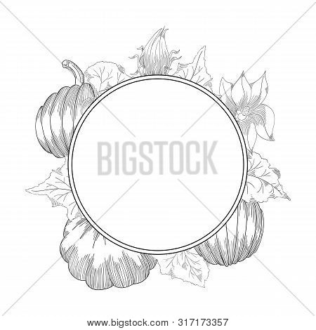 Pumpkin Wreath Vector Drawing Set. Isolated Hand Drawn Object With Sliced And Leaves.