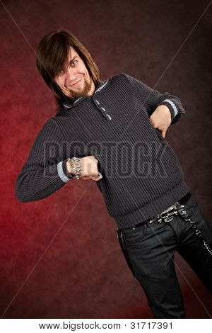 Cheerful Man With Funny Expression And Gestures