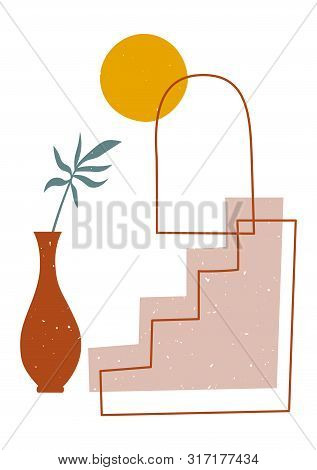 Modern Print In Trendy Earthy Hues With Palm Plant In A Pot