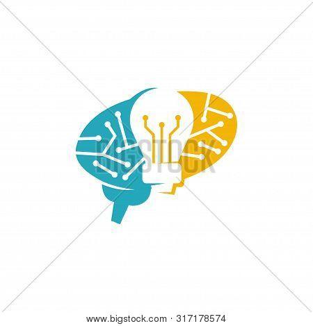 Brain Logo Template Think Idea Concept Brainstorm Power Thinking Icon