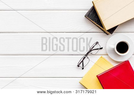 Workplace With Books, Glasses, Coffee On White Wooden Background Flatlay Mockup
