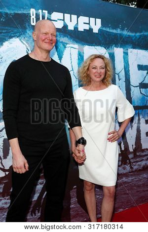 LOS ANGELES - AUG 12: Derek Mears, Virginia Madsen at the Premiere Of SyFy's