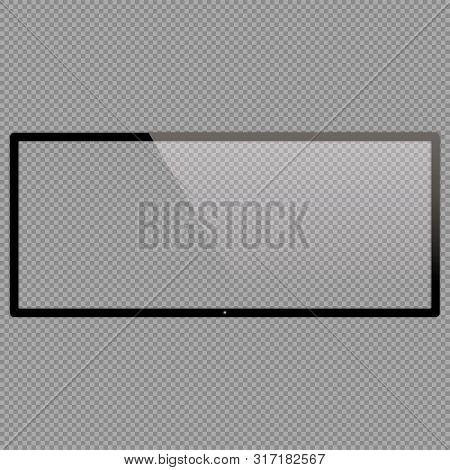 21x9 Lcd Monitor Set Vector Illustrations. Realistic Empty Tv Frame With Reflection And Transparency