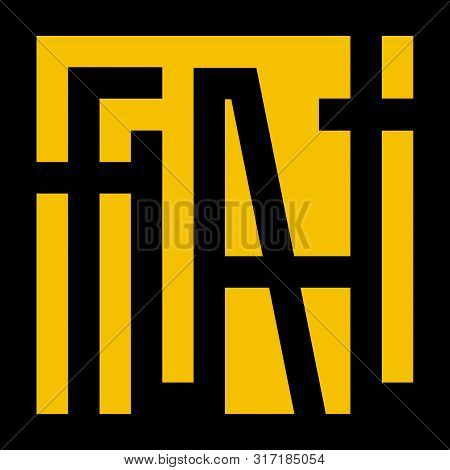 Flat Logo Black On Yellow. Graphic Geometric Lettering. Grotesque Letters. Vector Illustration. Mode