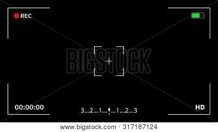 Camera Viewfinder. Recording. Camera Frame Viewfinder Screen Of Video Recorder Digital Display Inter