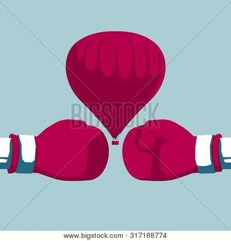 Boxing Hot Air Balloon. Isolated On Blue Background.