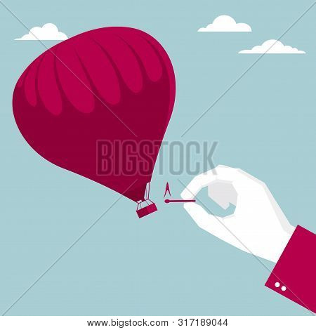 The Hot Air Balloon Is Ignited. Isolated On Blue Background.