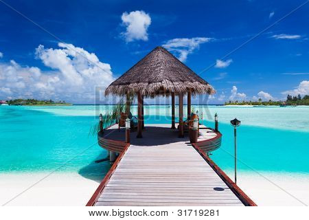 Jetty with amazing ocean view on tropical island
