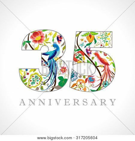 35 Years Old Logotype. 35 Th Anniversary Numbers. Decorative Symbol. Age Congrats With Peacock Birds