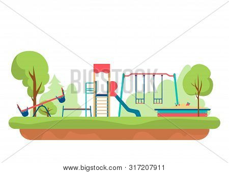 Kids Playground With Playing Equipment In Park. Outdoor Public City Kindergarten Isolated On White B