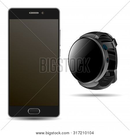 Smart Phone And Smartwatch. Black Mobile Mockup Teplate. Realistic Device Design Of Cellular Phone A