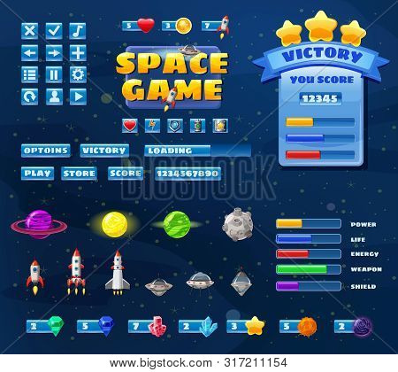 Big Set Buttons Icons Elements For Space Game Cartoon Casual Games And App. 2d Video Game Ui Kit Ico
