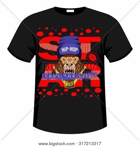 Monkey, Gorilla Star Print Shirt, Slogan. Hip Hop Music Rapper Gorilla Head In Hat. Bandit Monkey Wi