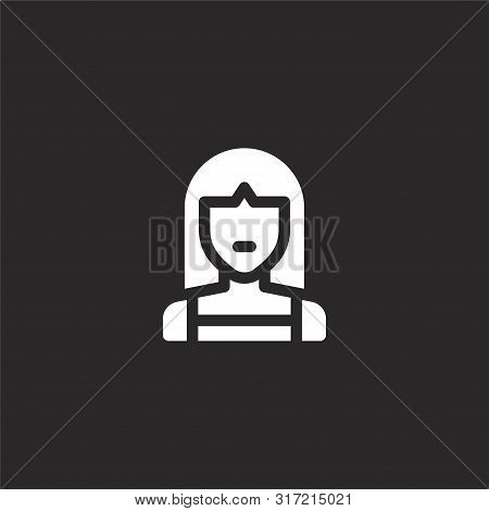 Girl Icon. Girl Icon Vector Flat Illustration For Graphic And Web Design Isolated On Black Backgroun