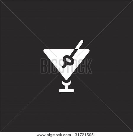 Martini Icon. Martini Icon Vector Flat Illustration For Graphic And Web Design Isolated On Black Bac