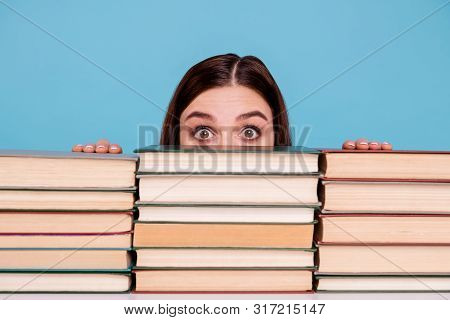 Close-up Portrait Of Her She Nice Attractive Intellectual Smart Clever Brainy Stunned Girl Hiding Be