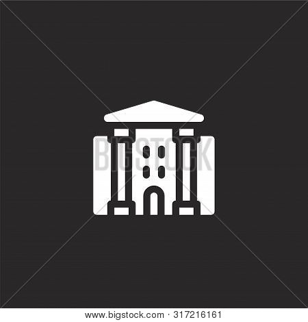 Theater Icon. Theater Icon Vector Flat Illustration For Graphic And Web Design Isolated On Black Bac