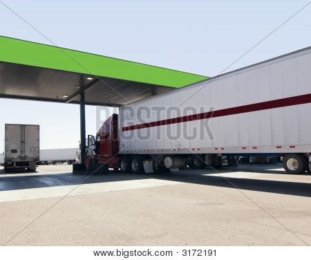 Large Freight Truck At Fuel Stop Off Highway In Arizona