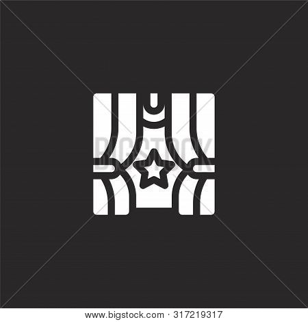 Curtains Icon. Curtains Icon Vector Flat Illustration For Graphic And Web Design Isolated On Black B