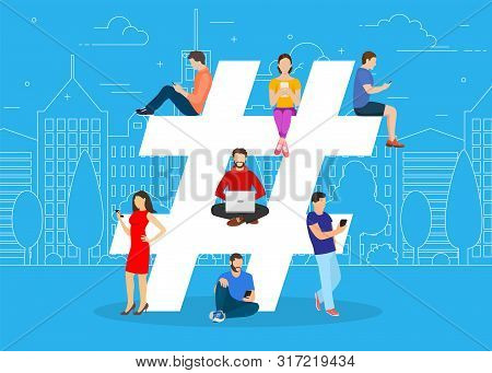 Hashtag Concept. People Using Mobile Tablet And Smartphone For Sending Posts And Sharing Them In Soc