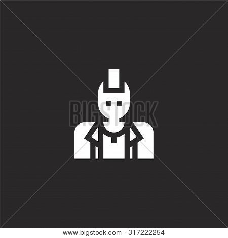 Punk Icon. Punk Icon Vector Flat Illustration For Graphic And Web Design Isolated On Black Backgroun