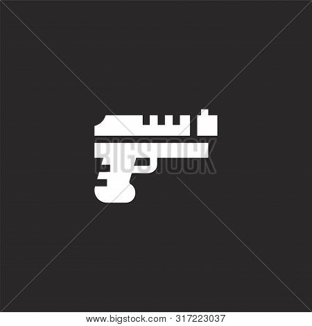 Gun Icon. Gun Icon Vector Flat Illustration For Graphic And Web Design Isolated On Black Background