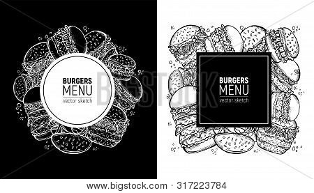 Fast Food Label.burgers Menu Or Menu Of Snackbar. Handdrawn Sketch