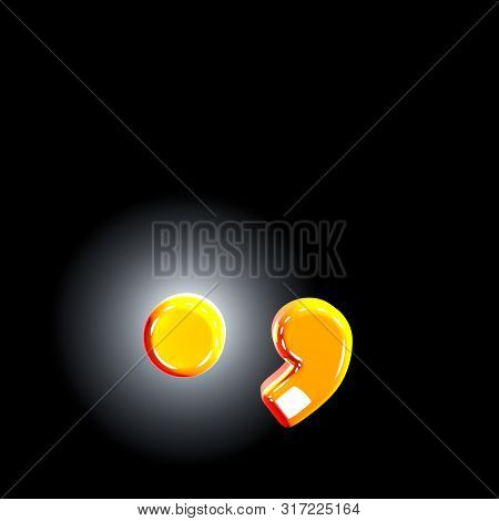 Period (full Stop) And Comma Of Festive Orange Shining Alphabet Isolated On Solid Black Background -