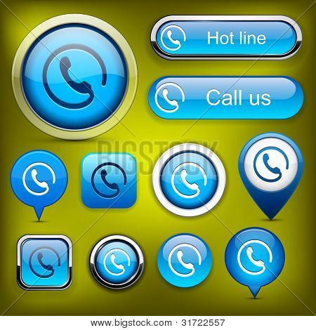 Call blue web buttons for website or app. Vector eps10.