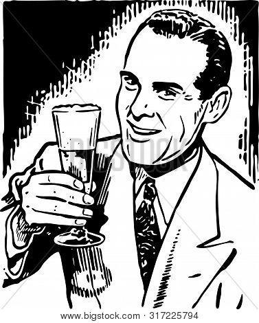 Retro Guy With Beer - Vintage Illustration Of Man Enjoying Beverage