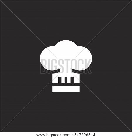 Chef Hat Icon. Chef Hat Icon Vector Flat Illustration For Graphic And Web Design Isolated On Black B
