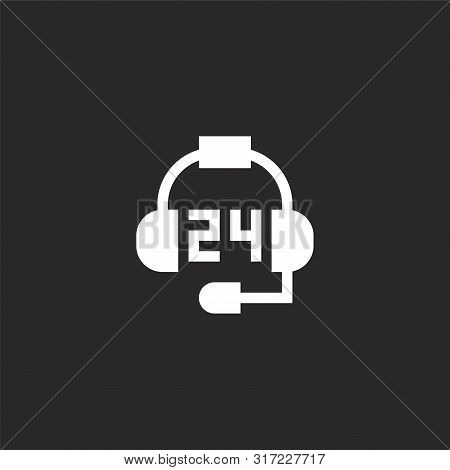 Call Center Icon. Call Center Icon Vector Flat Illustration For Graphic And Web Design Isolated On B