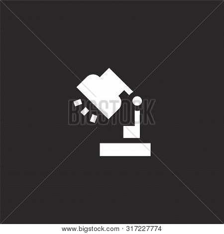 Desk Lamp Icon. Desk Lamp Icon Vector Flat Illustration For Graphic And Web Design Isolated On Black