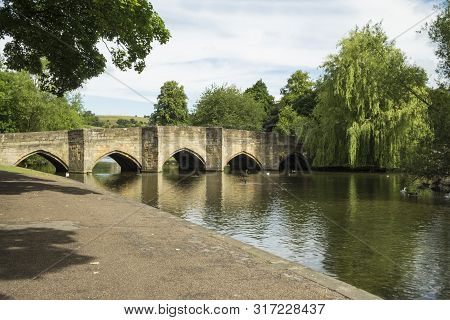 Bakewell, Derbyshire Peak District National Park, The Riverside Walk Next To The Tranquil River Wye