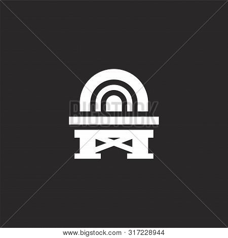 Stage Icon. Stage Icon Vector Flat Illustration For Graphic And Web Design Isolated On Black Backgro