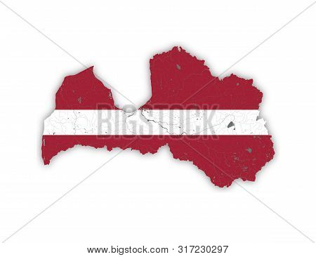 Map Of Latvia With Rivers And Lakes In Colors Of Latvian National Flag. Please Look At My Other Imag
