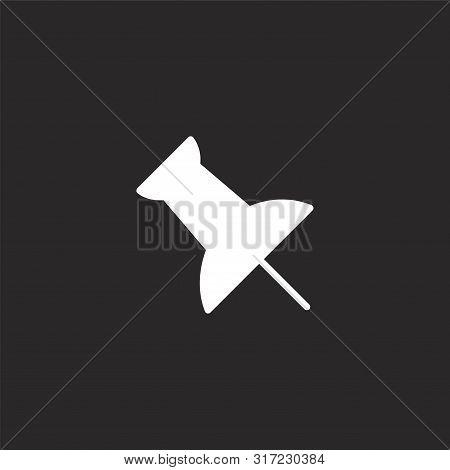 Push Pin Icon. Push Pin Icon Vector Flat Illustration For Graphic And Web Design Isolated On Black B