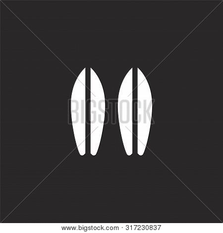 Surfboard Icon. Surfboard Icon Vector Flat Illustration For Graphic And Web Design Isolated On Black