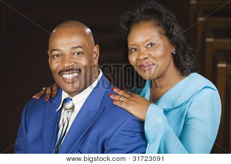 Portrait of African couple in church