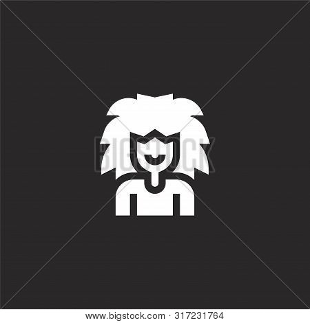 Rock Man Icon. Rock Man Icon Vector Flat Illustration For Graphic And Web Design Isolated On Black B