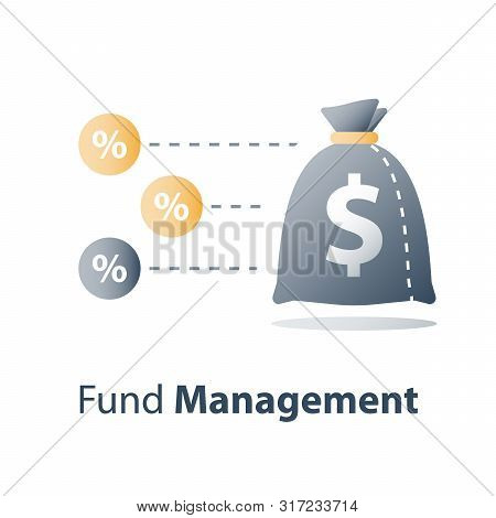 poster of Quick money, fast cash loan, invest fund, budget plan, interest rate, stock market, broker services, revenue increase, capital growth, wealth management, value investment, finance concept, vector icon