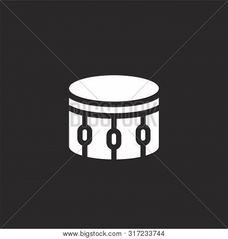 Drum Icon. Drum Icon Vector Flat Illustration For Graphic And Web Design Isolated On Black Backgroun