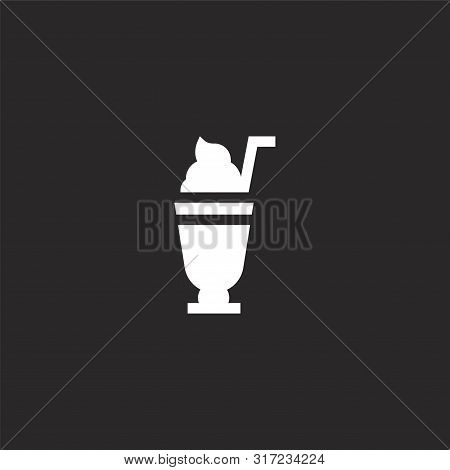 Milkshake Icon. Milkshake Icon Vector Flat Illustration For Graphic And Web Design Isolated On Black