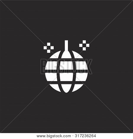 Mirror Ball Icon. Mirror Ball Icon Vector Flat Illustration For Graphic And Web Design Isolated On B