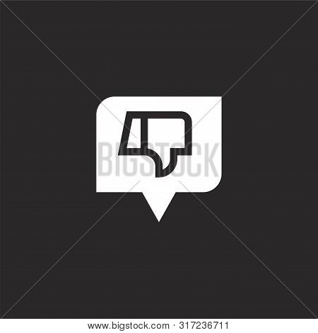 Dislike Icon. Dislike Icon Vector Flat Illustration For Graphic And Web Design Isolated On Black Bac