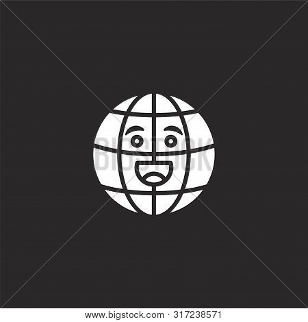 Internet Icon. Internet Icon Vector Flat Illustration For Graphic And Web Design Isolated On Black B