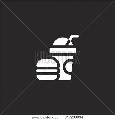 Fast Food Icon. Fast Food Icon Vector Flat Illustration For Graphic And Web Design Isolated On Black