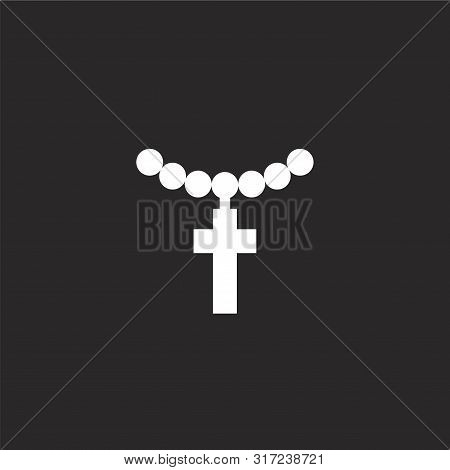 Necklace Icon. Necklace Icon Vector Flat Illustration For Graphic And Web Design Isolated On Black B
